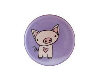 Purple Piglet Pin -  Pig Pin - Pig Magnet