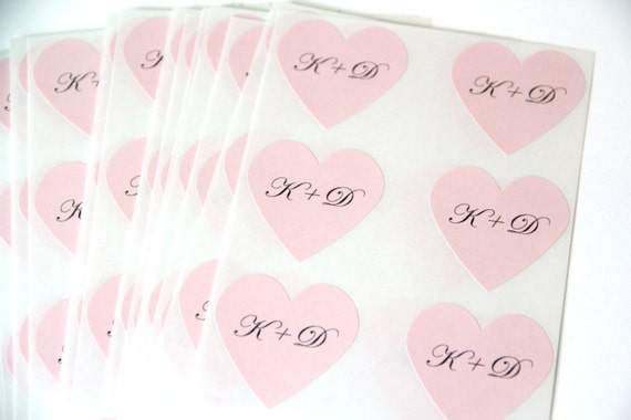 blush wedding favor heart stickers