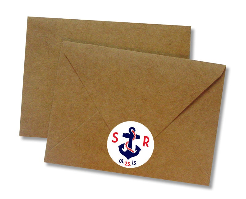 Custom Nautical Wedding Stickers White Initial Amp Date Labels Anchor Invitation Seals