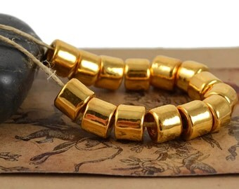 10 Mykonos Short Tube  - 8x7mm Gold 24 Karat - Ceramic Gold Bead