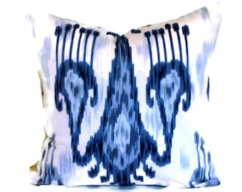 Decorative Pillow, Accent Pillow, Wedgwood Blue and White Ikat, Robert Allen, Pillow Cover, 18x18 20x20 14x20, Lumbar Pillow