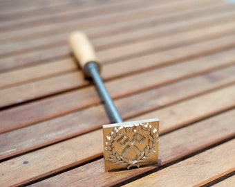 Custom Wood Branding Iron with Wooden Handle - FedEx 1-2 Days Arrival