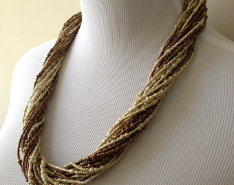 Long Bronze and Gold Multistrand Boho Statement Necklace - Long Boho Multi Strand Layering Statement Necklace - Bianca Collection