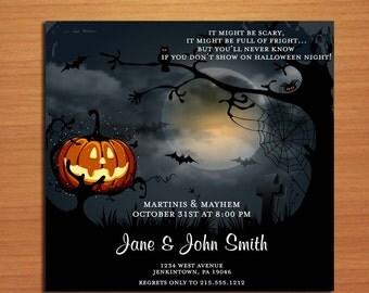 Pumpkin Graveyard Halloween Party Customized Printable Invitations /  DIY