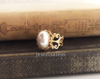 White Pearl Ring Gold Silver Antique Brass Wedding Bridal Jewelry Sisters Bridesmaids Best Friend Friendship Vintage Style Something Old