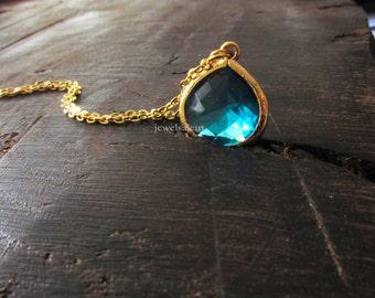Blue Stone Gold Necklace Montana Blue Sapphire Blue Teal Aqua Small Modern Elegant Simple Bridesmaid Gift Wedding Friendship BFF Sister C1