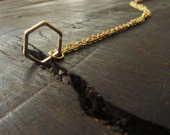 Modern Necklace Gift Gold Silver Hexagon Geometric Shape Rustic Delicate Simple Everyday Jewelry Gift Sisters Best Friends Friendship C1