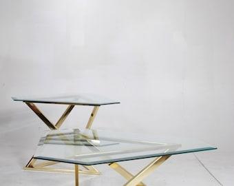 Geometric Brass Table Set