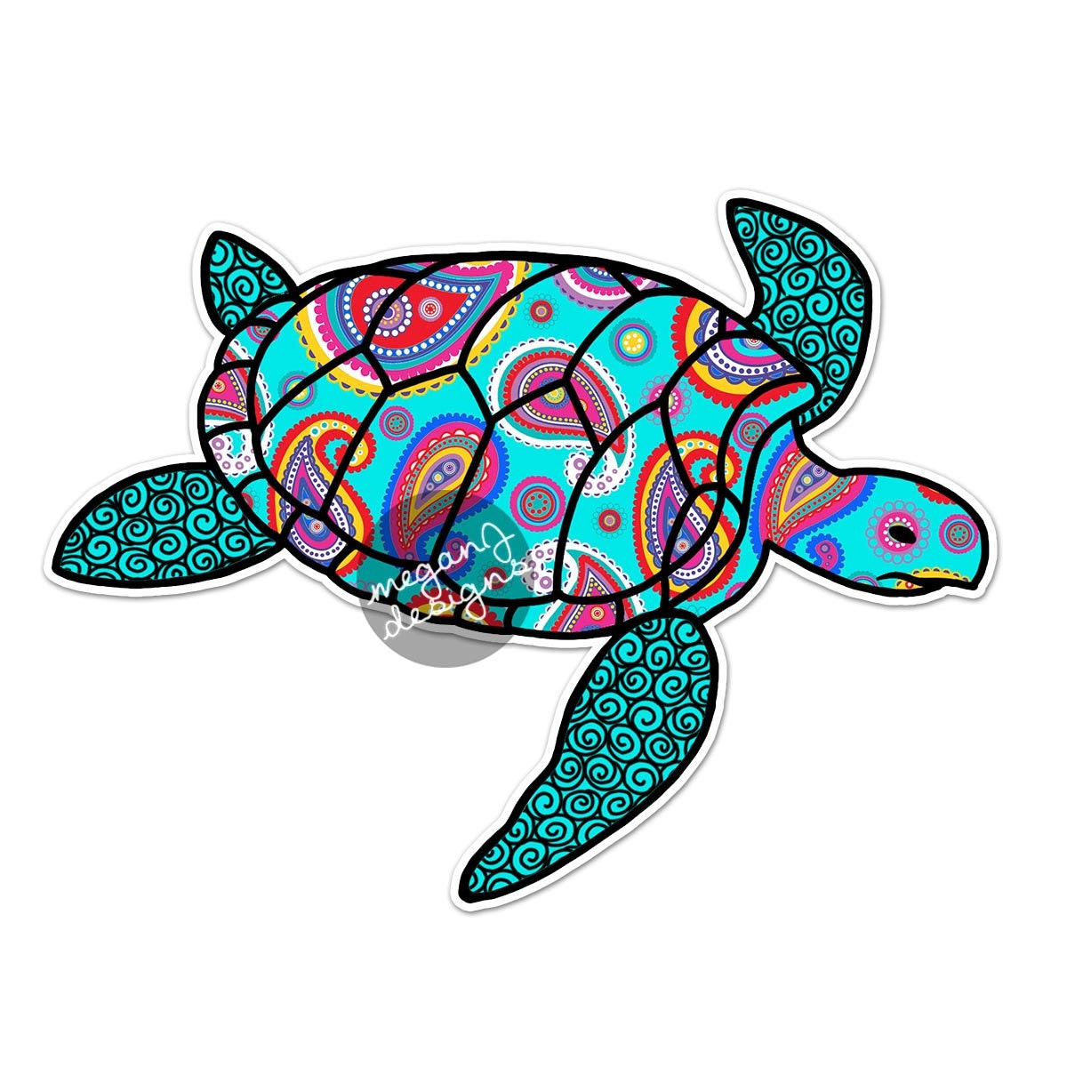 Bumper sticker design and print - Blue Paisley Sea Turtle Decal Colorful Pattern Beach Bumper