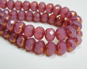 Pink Rose Opal Picasso finish fire polished Czech faceted glass rondelle beads 8x6mm half strand NR-594