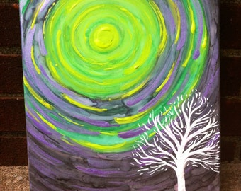 "Supernovae ORIGINAL Art ""Tree Series 40"" 11x14"" Acrylic Watercolor Metallic Painting FREE SHIPPING"