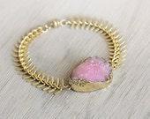Pink Druzy Bracelet - Pink Statement Bracelet - Chunky Bracelet - Boho Luxe Druzy Jewelry - Pink and Gold Bracelet