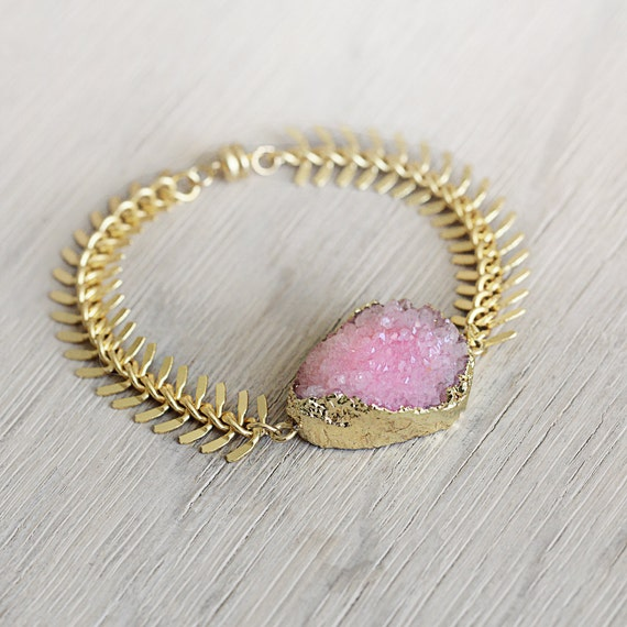 Pink Druzy Bracelet - Pink Statement Bracelet