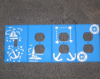 Blue Nautical Stenciled Light Switch & Outlet Covers
