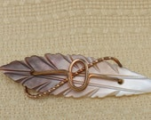 Carved Mother of Pearl and Copper Leaf  Brooch