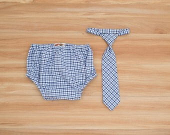 Baby Neck Tie and Diaper Cover in Blue and White Checks, Baby Boy Clothing, Baby Boy Cake Smash, Blue and White Birthday