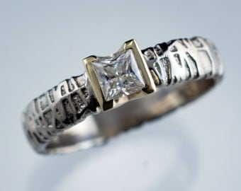 Princess Cut Forever Brilliant Moissanite Half Bezel Set Woven Texture Engagment Ring, ready to ship size 8