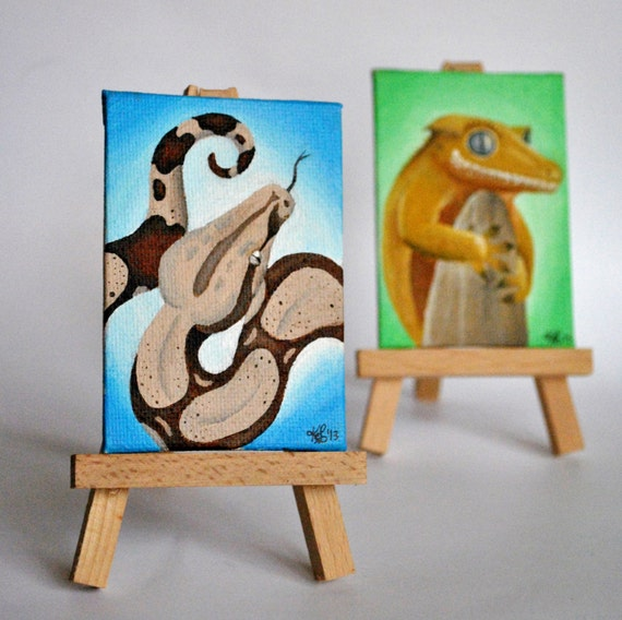 Mini Easel Painting - Red Tail Boa - Free US Shipping!