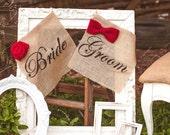 Bride & Groom Wedding Chair Signs Rustic Wedding Chair Signs,  Stenciled Burlap Chair Signs, Bride and Groom Sign Christmas Red Bow Tie Rose
