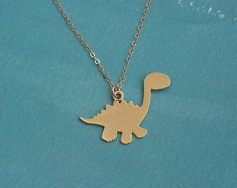 Dinosaur Necklace in Gold , Dino Jewelry , Stegosaurus Charm , Dinosaur Jewelry , Dinosaur Pendant , Jurassic Necklace , Pre- historical