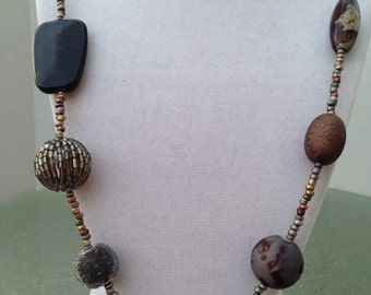 Chunky beaded necklace and earring set