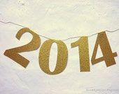 2014 Banner Gold Glitter New Years Eve Paper Garland