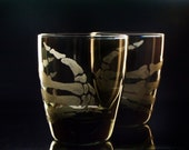 Halloween Glassware Skeleton hands smoke glass tumblers custom barware drink set  bar set  man cave Double old fashioned.