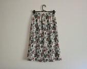 MOVING SALE Floral Midi Skirt - 70s, pleated, green, red, purple, cream, elastic waist, medium - large