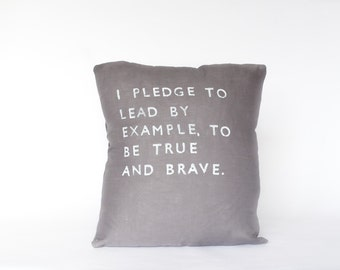 I PLEDGE to LEAD // Hand Printed Linen Pillow // Modern Heirlooms
