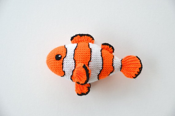 Clown Fish Crochet Pattern - Crochet Clown Fish Pattern - Tropical Fish Pattern - Exotic Fish - Amigurumi Fish - Ocean - Sea - Zoo Theme