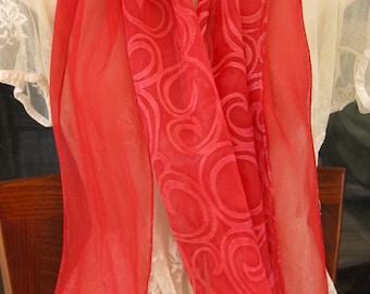 Red Silk Scarf. Cherry Red Curls Pattern Silk Scarf. Rose Red Chiffon Scarf. 8 x 54