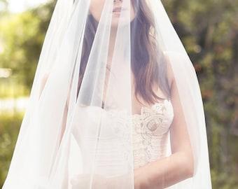 Bridal drop veil - wedding tulle veil with crystals - bride hair accessories - fingertip veil - ivory blusher veil - outdoor wedding (#104)