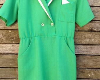 1980's 'Jodi Michaels' Green Suit Collar Mini Dress