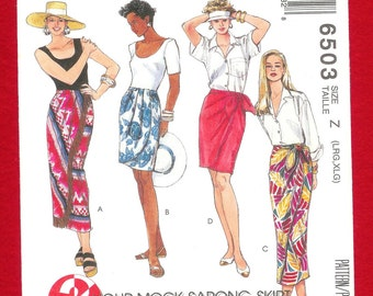 Vintage 1993 McCall's 6503 Mock Sarong Pull On Skirt In 2 Lengths, Misses' Sizes Large (16, 18), Extra Large (20, 22), UNCUT