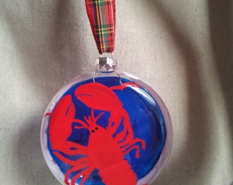 Maine Lobster, hard shell, crustacean Christmas,  ornament, hand painted on glass disk