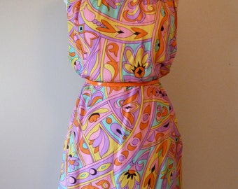 60's Saks Fifth Avenue Pink Silk Psychedelic Graphic Mod Dress M L