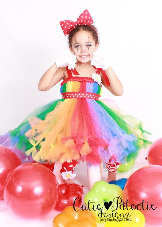 Petti Tutu Dress - Halloween or Birthday Costume - Rainbow - Cutie Patootie Clown - 12 month to 2 Toddler Girl