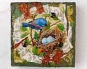 Blue Bird w Nest, Mixed Media Original Art, Assemblage, Tin, Wood, small, home decor, bird lover