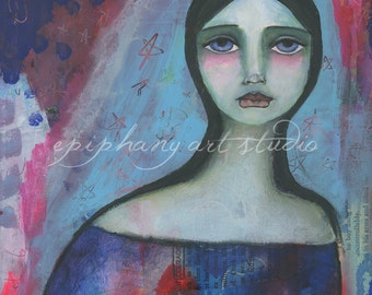 "SALE Fine Art Print ""Mary, Queen of Courage"" 9"" x 12"" Giclee Catholic Decor Christian Divine Feminine Blue Red Faith, Virgin Mary, Our Lady"