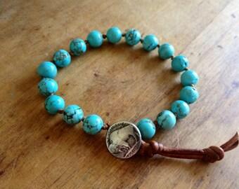 Turquoise Leather Beaded Bracelet with buffalo clasp  gemstone jewelry boho bohemian