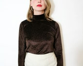 Vintage Grunge Top Textured Brown Velvet Turtleneck Blouse Long Sleeve Sweater Shirt