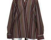 1960s Striped Blouse by KOLORTRON Koret of California Size medium 7/8