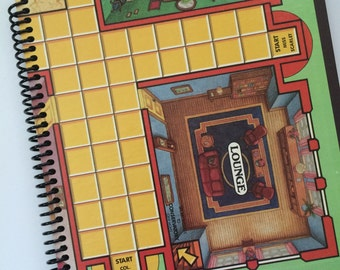 Spiral Notebook CLUE Recycled Journal Made from an actual GAMEBOARD