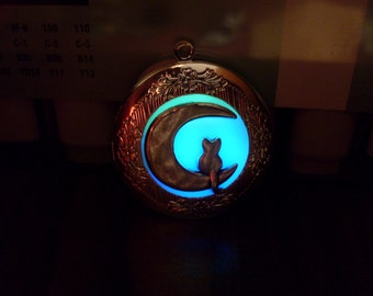 GLOW in the DARK Crescent Moon and Sitting Cat Round Silver Photo Locket -- Green, Aqua, Blue, Yellow, White, Orange, Pink, Purple, Red