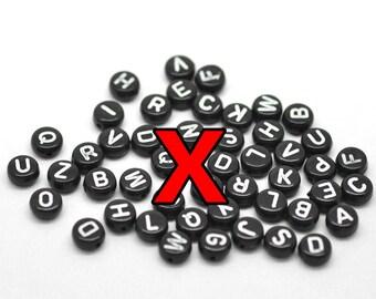 X Black Alphabet Beads with white letters 7mm round flat 3000 pcs STORE CLOSING DESTASH