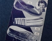 Vintage 30s 40s Sewing Pattern Bestway Leaflet for Children's Slippers ages 2 to 4 years and 12 to 14 years