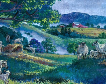 "Cool Sheep Unframed Giclee Print 7""x14"""