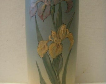 Scare Antique Hudson Pottery Blue & Cream Ceramic Vase with Hand Painted Iris Motif, Matte Glaze