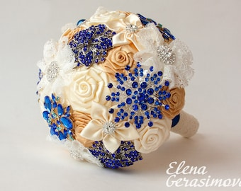 Brooch Bouquet. Cream Ivory blue Fabric Bouquet, Unique Wedding Bridal Bouquet