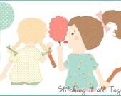 Carnival Fun - Little Girls - Digital Illustration - Unique Clipart